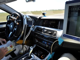 Inside of a car with high technologie